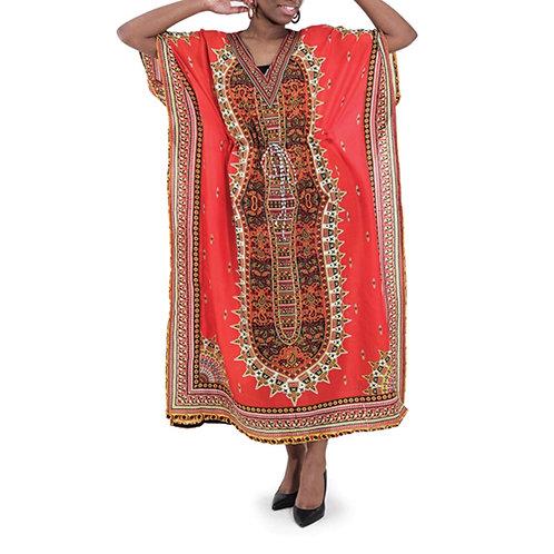 Red Draw String Kaftan Dress