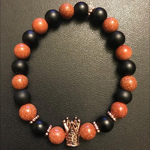 Quartz & Matte Black Onyx Rose Gold Crown Bracelet