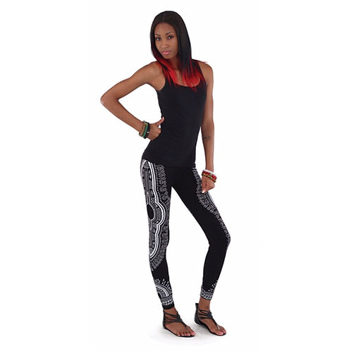 Black/White Dashiki Leggings