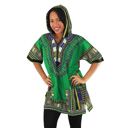 Green Kenyan Hooded Dashiki (Unisex)