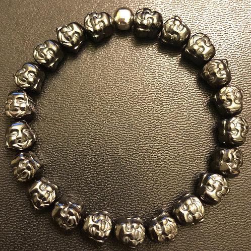 Happy Buddha Silver Hematite Healing Bracelet