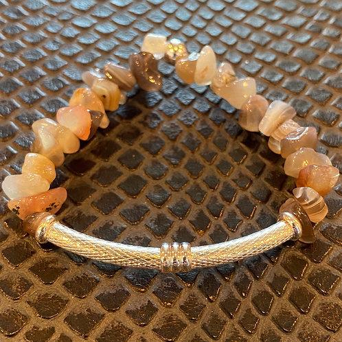 Botswana Agate Chip Bar Healing Bracelet