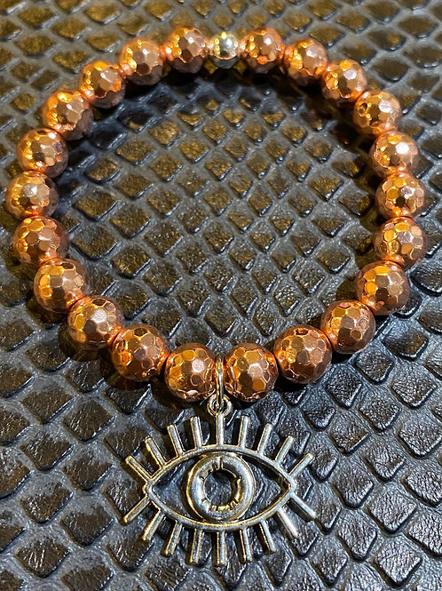 "Faceted Rose Gold Hematite ""All Seeing Eye"" Healing Bracelet"