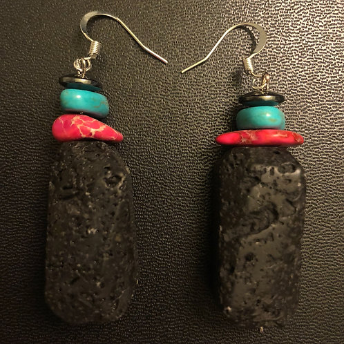Lava Stone, Imperial Jasper, Turquoise and Hematite Earrings