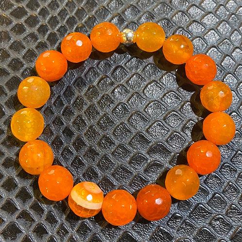 Faceted Orange Agate Healing Bracelet