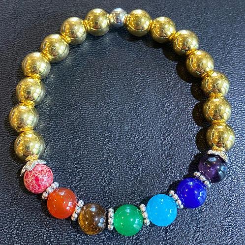 Gold Hematite Chakra Healing Bracelet