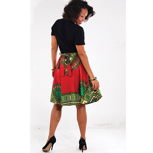 Red Short Traditional Print Skirt