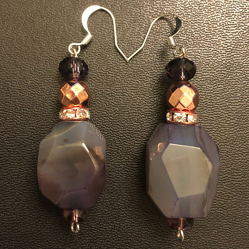 Agate and Rose Gold Hematite Earrings