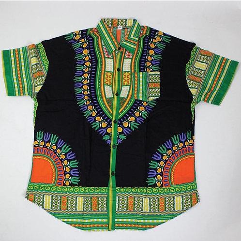 Black/Green Dashiki Button Up