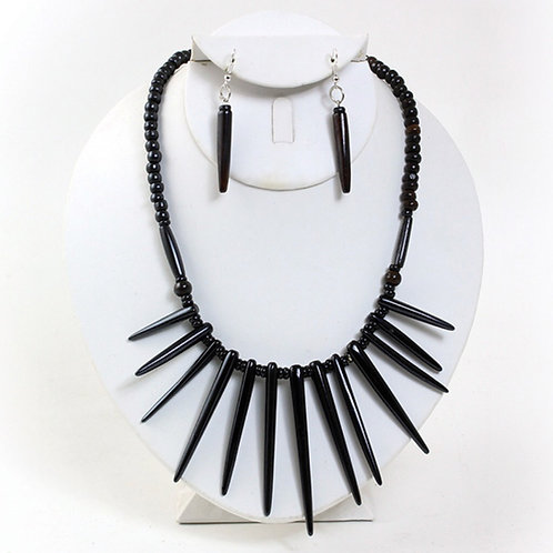 Dark Brown Bone Spike Necklace & Earrings Set