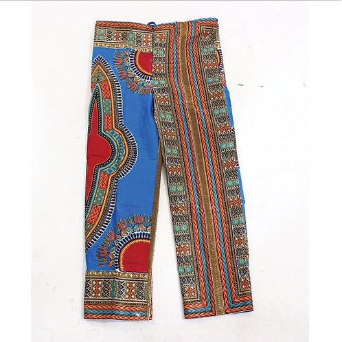 Light Blue Drawstring Dashiki Print Pants