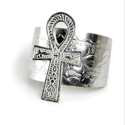 Silver Ankh Cuff Bracelet