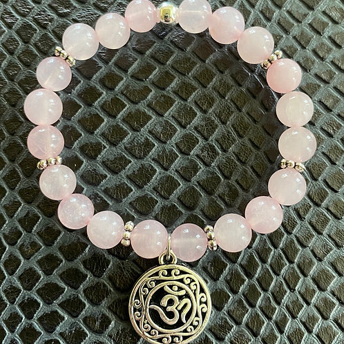 Rose Quartz Om Healing Bracelet