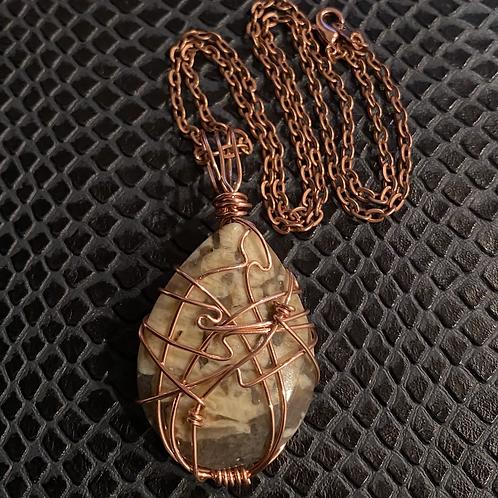 Feldspar Copper Wire Wrapped Necklace
