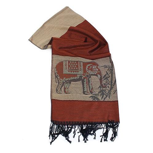 Brown Elephant Pashmina Shawl/Scarf