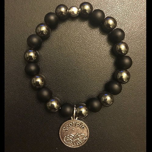 Zodiac Hematite & Matte Onyx Bracelet