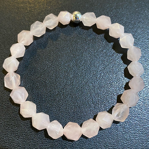 Diamond Cut Rose Quartz Healing Bracelet