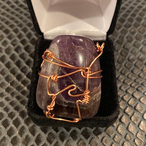 Amethyst & Copper Ring