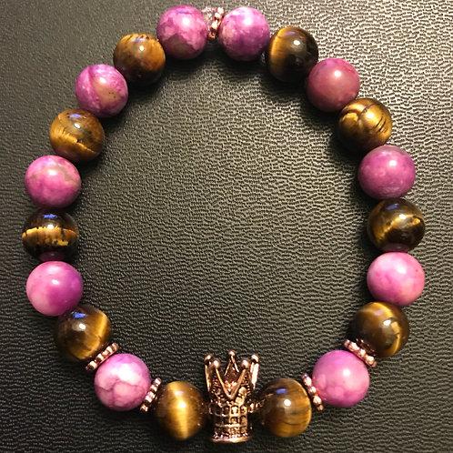 Purple Jasper & Tiger Eye Rose Gold Crown Healing Bracelet