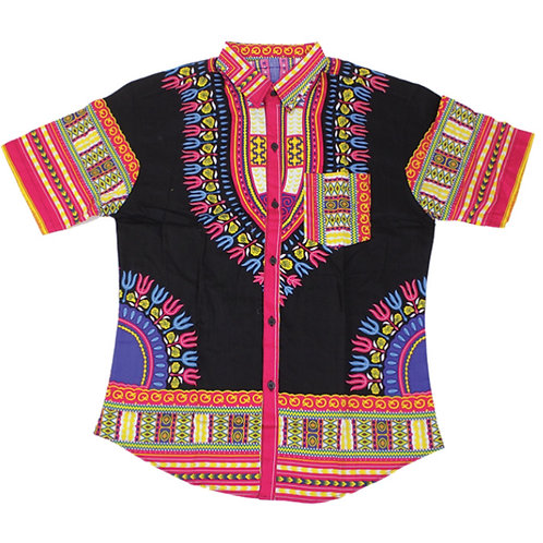Black/Fuschia Dashiki Button Up