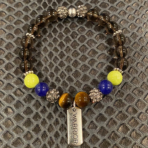 Warrior Smokey Quartz, Jade & Tiger Eye Healing Bracelet