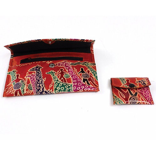 Rusty Orange Leather Giraffes and Warriors Wallet & Coin Purse