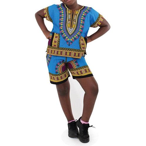 Turquoise Child Dashiki and Shorts Set