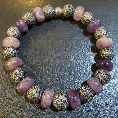 Amethyst & Silver Lava Rock Healing Bracelet