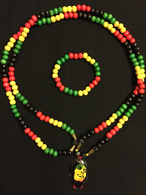 Bob Marley Beaded Necklace & Bracelet Set