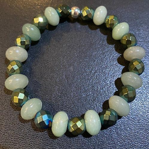 Faceted Green Hematite & Aventurine Healing Bracelet