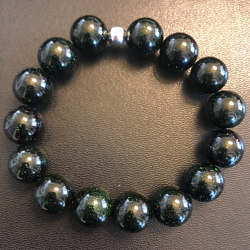 12mm Green Sandstone Healing Bracelet