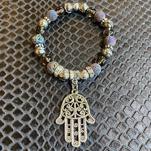 Lava Stone, Pyrite & Smoky Quartz Large Hamsa Healing Bracelet
