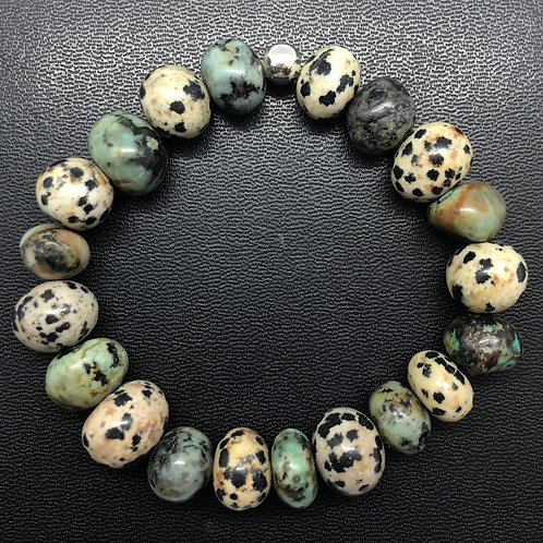 African Turquoise and Dalmatian Jasper Stone Healing Bracelet