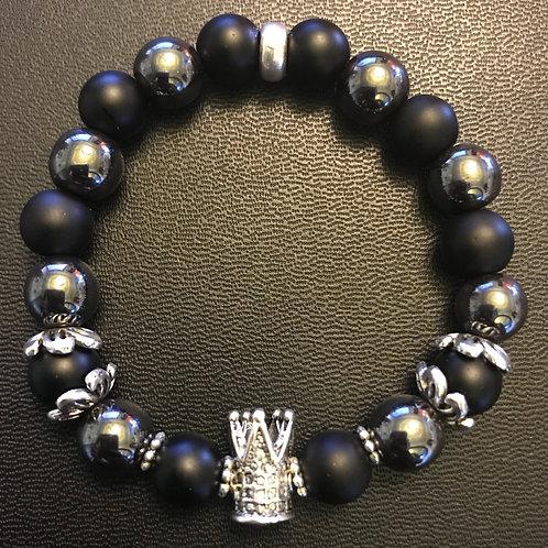 Black Onyx & Hematite Silver Crown Bracelet