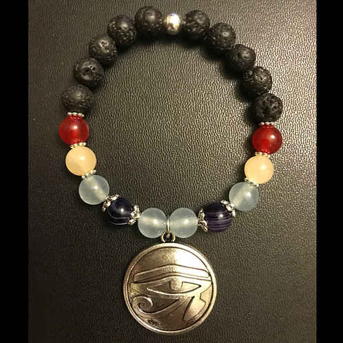Striped Purple Agate, Jade, and Lava Stone Third Eye Charm Bracelet