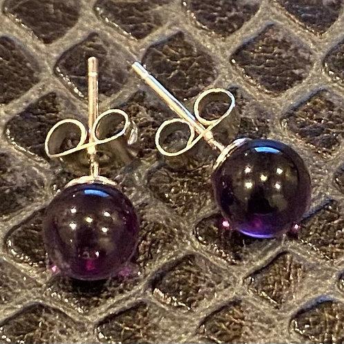 Amethyst Sterling Silver Stud Earrings