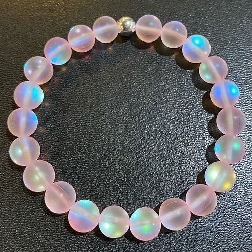 Matte Pink Mystic Aura Quartz Healing Bracelet