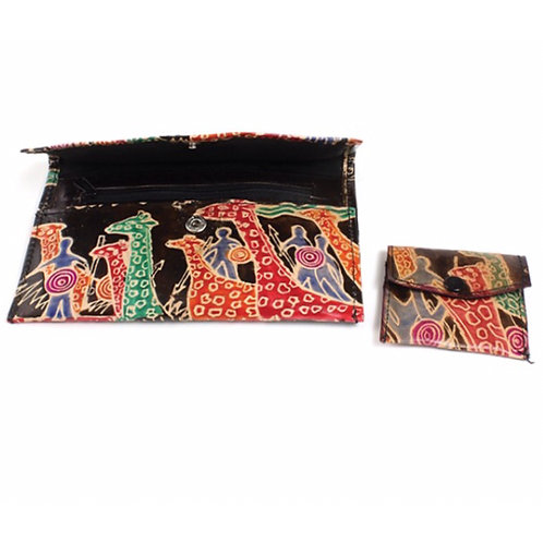 Black Leather Giraffes and Warriors Wallet & Coin Purse
