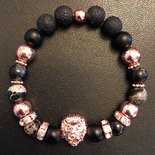 Jasper, Hematite, Matte Onyx & Lava Stone Rose Gold Lion Healing Bracelet