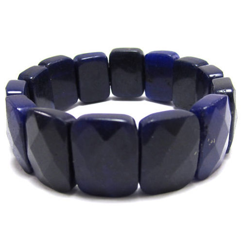 15x20mm Faceted Dark Purple Jade Bracelet