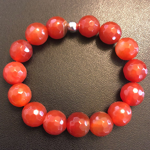12mm Faceted Agate Healing Bracelet