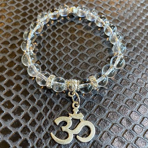 Clear Quartz Om Healing Bracelet