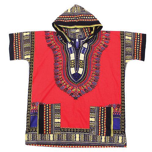 Red Kenyan Hooded Dashiki (Unisex)