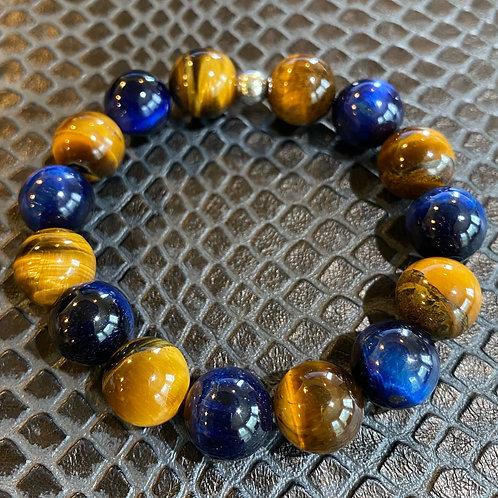 12mm Blue & Yellow Tiger Eye Healing Bracelet
