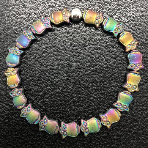 Rainbow Hematite Owls Healing Bracelet