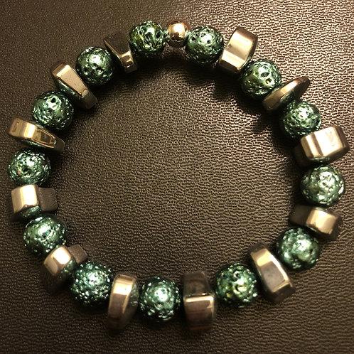 Silver Hematite and Metallic Turquoise Lava Stone Healing Bracelet