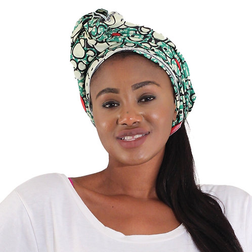 African Head Wrap - Green Flowers