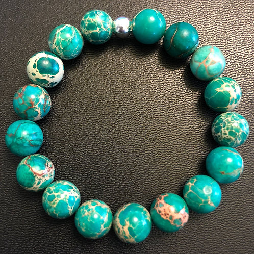 10mm Emerald Sea Sediment Jasper Healing Bracelet