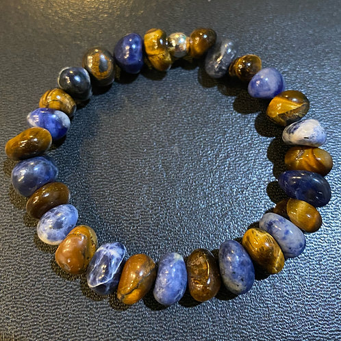 Tiger Eye & Sodalite Nugget Healing Bracelet