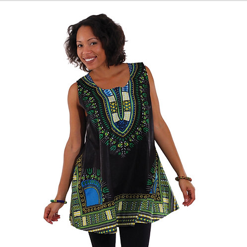 Black/Green Dashiki Tank